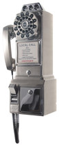 Crosley - Corded 1950s Pay Phone - Brushed Chrome