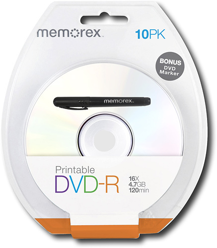 Memorex - 10-Pack 16x Printable DVD-R Disc Blister - White