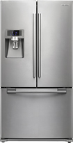 Samsung - 23 Cu. Ft. Counter Depth French Door Refrigerator w/ Thru-the-Door Ice & Water - Stainless-Steel