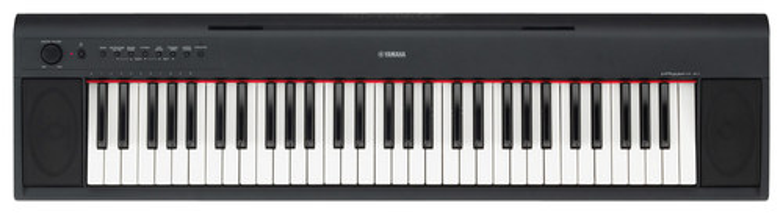 Yamaha - Yamaha NP11 Piaggero Portable Keyboard with 61 Piano-Style Touch-Sensitive Keys - Black