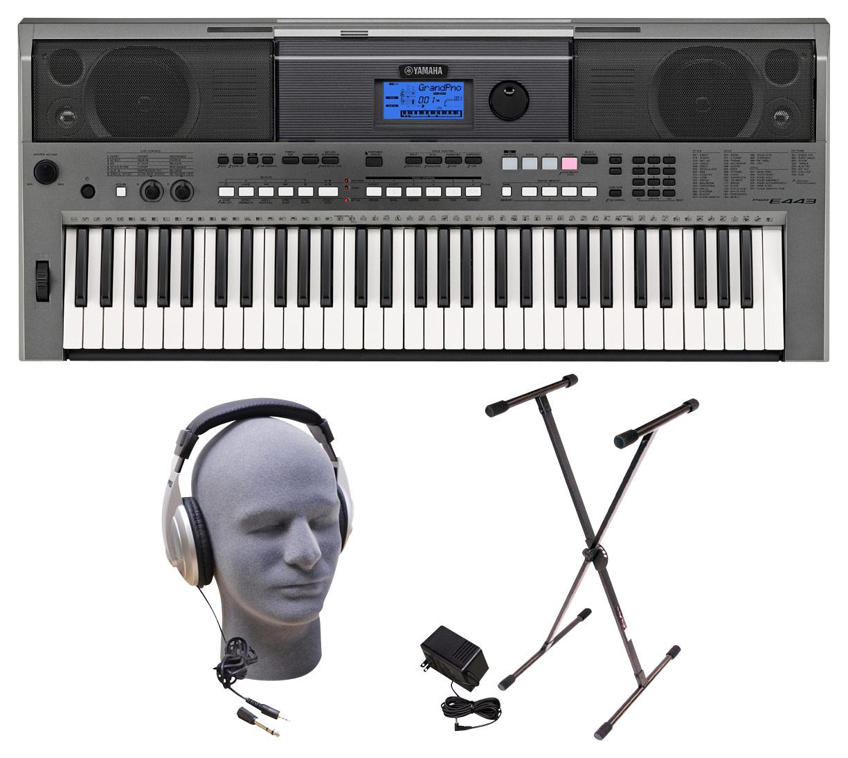 Yamaha - PSR Series PSRE443 Portable Keyboard with 61 Piano-Style Touch-Sensitive Keys - Gray