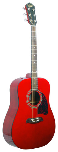 Oscar Schmidt - 6-String Full-Size Dreadnought Acoustic Guitar - Trans Red
