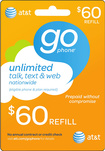 AT&amp;amp;T GoPhone - $60 Prepaid Wireless Airtime Card