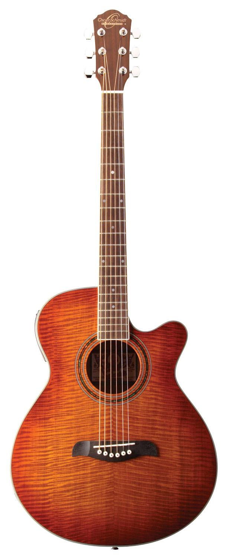Oscar Schmidt - 6-String Concert-Size Cutaway Acoustic/Electric Guitar - Flame Yellow Sunburst