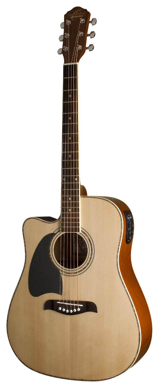 Oscar Schmidt - 6-String Full-Size Dreadnought Left-Handed Acoustic/Electric Guitar - Natural