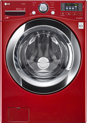 LG - 4.3 Cu. Ft. 9-Cycle High-Efficiency Steam Smart Front-Loading Washer - Wild Cherry Red