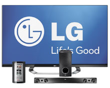 LG 55LM7600 55 inch 1080p 240Hz 3D LED LCD HDTV with Smart TV + LG - 2.1-Channel Home Theater Soundbar System with Wireless Subwoofer + 3D Glasses Package