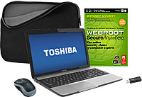 Toshiba L855-S5405 15.6 inch LED Laptop Computer with Internet Security Software, Laptop Sleeve, Mouse,  Flash Drive Package