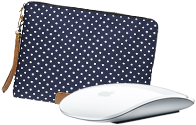 Apple mouse, MacBook sleeve, MacBook shell case