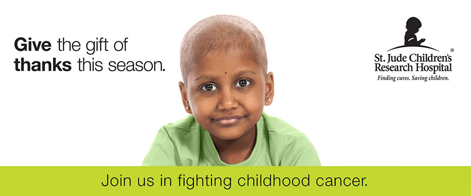 Give the gift of thanks this season. Join us in fighting childhood cancer.